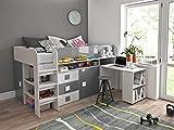 Furnistad | Halbhochbett für Kinder EKO - Hochbett mit Schrank, Schreibtisch und Leiter (Weiß + Grau)