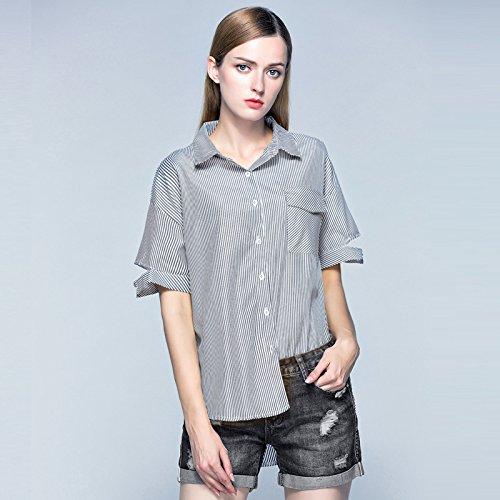 ZHUDJ T-Shirt_Polo Gestreiftes Hemd Weiblichen Lose Unregelmäßige, Schwarz, L -