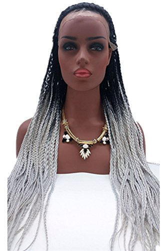 honorhair natürlichen Ombré schwarz zu grau hitzebeständig Perücken für Damen schwarz geflochten Perücken Lace Front Perücke