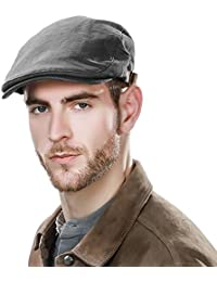 Siggi 100% Cotton Mens Flat Caps Gatsby IVY Irish Hunting newsboy Hat 57-59CM (7 Colours)
