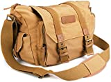 BESTEK® Waterproof Canvas SLR DSLR Digital Camera Bag Case Casual Shoulder Messenger Bag Outdoor Travel Photography Bag Gadget Organizer with Shockproof Insert & iPad Tablet Magazine Pocket for Sony/Canon/Nikon, iPad and Accessories (Khaki) BTDB01