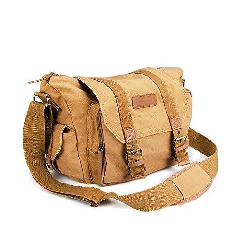 BESTEK Waterproof Canvas SLR Digital Camera Bag Messenger Shoulder Case with Shockproof Insert & Tablet Pocket for Canon/Nikon/Sony/Pentax DSLR and Accessories - Khaki
