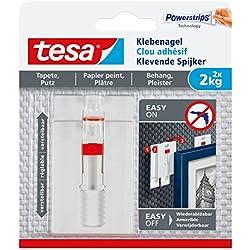 tesa 77777- Lot de 2 Clous Adhésifs Ajustables pour Papier Peint 2kg
