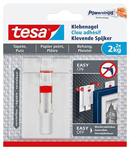 tesa Verstellbarer Klebenagel (für Tapeten und Putz 2 kg, Höhenverstellbarer, selbstklebender Wandnagel, bis zu 2kg Halteleistung pro Nagel) 2er Pack -