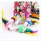 NiceButy - Juego de 5 piezas de juguetes para gato o gato de mascota, de piel sintética, con diseño de ratón, juguetes de cola de plumas