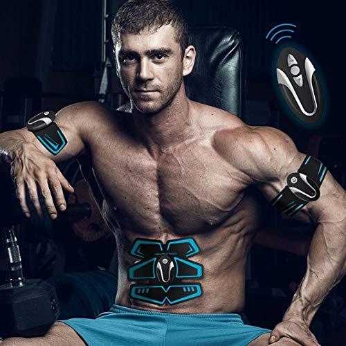 EMS Electroestimulador Muscular USB Charging, Músculos Abdominales para Hombres y Mujeres Entrenamiento físico Inteligente Ejercitador Muscular, Blue