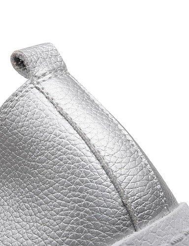ZQ gyht Scarpe Donna-Mocassini-Tempo libero / Ufficio e lavoro-Comoda-Piatto-Finta pelle-Nero / Bianco / Argento , silver-us8 / eu39 / uk6 / cn39 , silver-us8 / eu39 / uk6 / cn39 silver-us5.5 / eu36 / uk3.5 / cn35