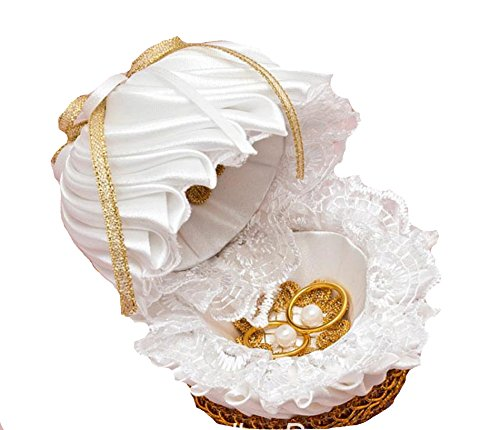 Unbekannt Ringkissen Ringschatulle Muschel Hochzeit Accessoires Kissen Weiß Gold Feder Box