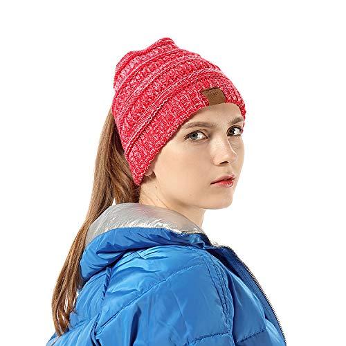 Strickmütze mit Zöpfen Loch Loop Warme Gestrickt Beanie Mütze Damen Mädchen Wintermütze Hat Cap Ideales Zubehör für Outdoor Sport Aktivitäten und den alltäglichen Gebrauch leicht und weich(zweifarbig)
