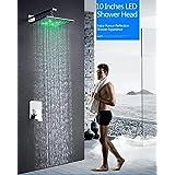 hm Ensemble de douche à LED de 10 po Ensemble de douche à encastrer mural monté sur le mur Alimenté par l'eau Robinets de douche et de baignoire d'eau de pluie de luxe
