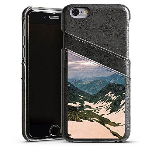 Apple iPhone 4 Housse Étui Silicone Coque Protection Montagnes Neige Paysage Étui en cuir gris