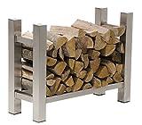 CLP Edelstahl Kaminholzregal MEDYA, Kaminholzständer mit Bodenschonern | stabile Konstruktion | Vierkantrohr 100 x 30 x 60 cm