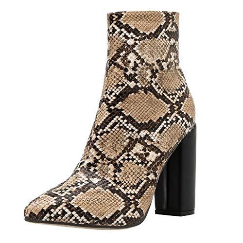 ┃BYEEEt┃ Stivaletti Donna Scarpe Moda Scarponcini Chelsea Boots Zeppe Donna Pelle di Serpente Tacco a Alto Stivali