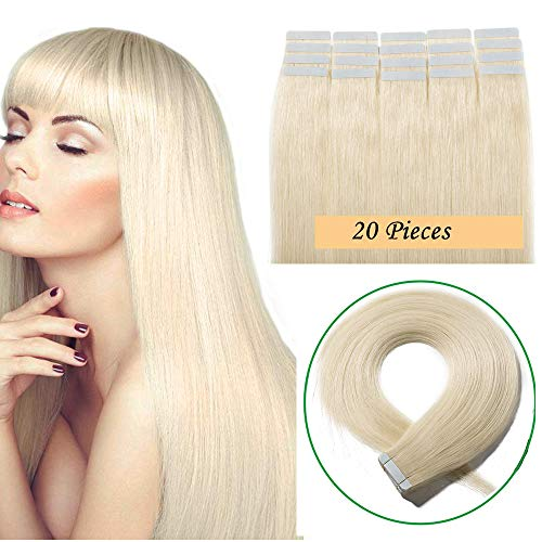 Extension adesive capelli veri biadesivo tape biadesive 20 fasce extensions bionde 40g remy human hair naturali umani 35cm (#60 biondo platino)