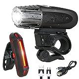 iHomeGarden LED Fahrradbeleuchtung Set wiederaufladbares Fahrradlicht IPX5 Wasserdicht USB Fahrradlampen Frontlicht und Rücklicht mit Halterung