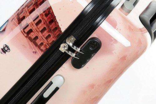 Reise Koffer Trolley mit Polycarbonat ABS Hartschale und Motiv BB (4: 115 Liter - Gr. XL, Eiffelturm) - 5