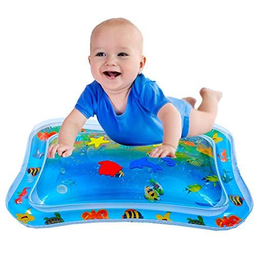 Baby Spaß Bauchzeit Spielaktivität Aufblasbare Spielmatten Auslaufsicher BPA-frei Wasser-Matte Spielzeug Spieldecke für Baby Säuglinge und Kleinkinder (Blau)