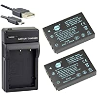DSTE KLIC-5001 Li-ion Batteria (2-Pacco) e Caricabatterie USB per Kodak EasyShare P880 Z730 Z7590 Z760 (Memoria Dx6490 Kodak)