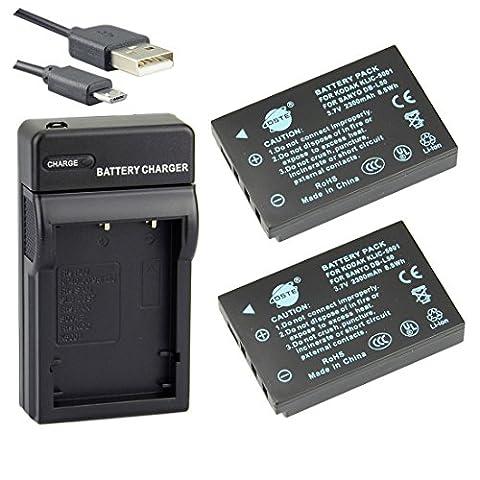 DSTE KLIC-5001 Li-ion Battery (2-Pack) and Micro USB Charger Suit for Kodak EasyShare Z760 DX6490 (Memoria Dx6490 Kodak)