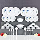 Skyheart Exclusive Unbreakable Plastic Dinner Set of 32 pcs (White & Blue)