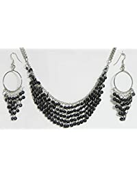 DollsofIndia Black Sequined Jhalar Necklace With Earrings - Acrylic And Metal (FY51-mod) - Black