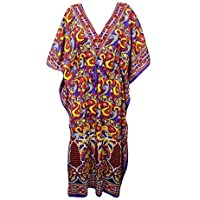 Mogul Interior Women Caftan Dress Purple Printed Viscose Kimono Kaftan Cover Up One Size