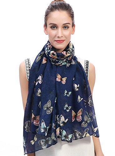 Lina   Lily Écharpe Foulard pour Femme Imprimé Papillon (Bleu) 6059a09e5d5