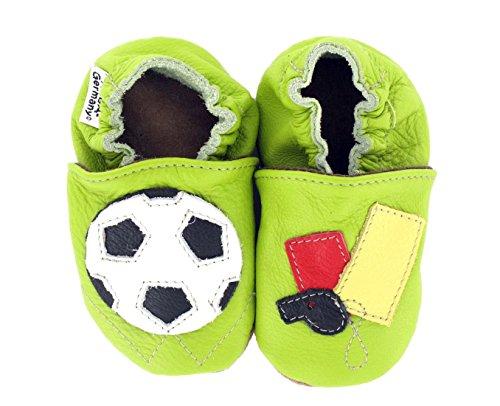 Hobea Germany  Krabbelschuhe Fußball, Chaussures et pantoufles pour bébé mixte bébé Vert (grün)