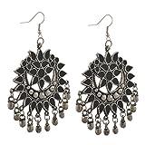 #6: Zephyrr Fashion Multicolor German Silver Afghani Hook Chandbali Dangler Earrings For Women