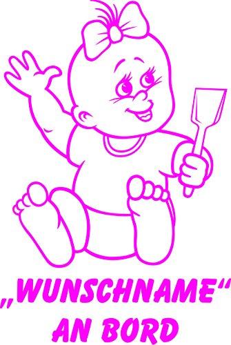 INDIGOS UG - Babyaufkleber / Kinderaufkleber 082 mit Wunschname / Wunschtext an Bord ca. 20 cm Höhe - Autoaufkleber in verschiedenen Farben
