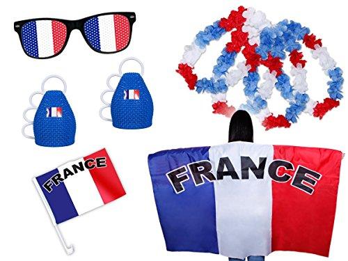 PROMOTION  Kit XXL supporter France (FP-08) Ensemble de 9 pièces Bleu blanc  rouge 1 x drapeau pour voiture ,1 x Cap poncho drapé avec manches à  enfiler, ... bfe0717b2b48