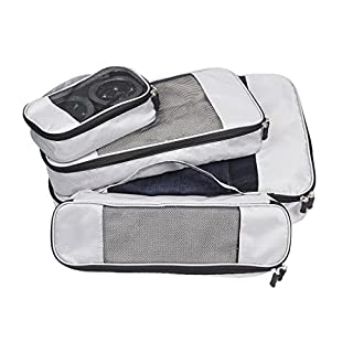 Large Travel Packing Cubes Set Lightweight Luggage Storage Organisers with Handle, Nylon Essential Bags Compression Pouches by Abimars for Suitcase and Duffel Bags, Pack of 4 Grey