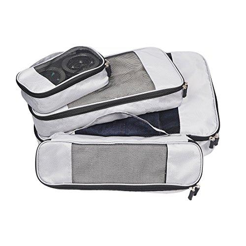 Koffer-Organizer Kleidertaschen-Set Packwürfel mit Griff für Koffer & Duffle Bags, Geeignet für Familie und Reisen 4-teilig, je 1 kleine, mittelgroße, große und schmale Packtasche, Grau -