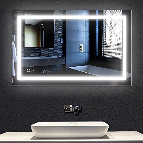 23w,6000k,100 * 60cm,specchio per bagno con led,specchio a muro ,specchio luminoso,interruttore tattile