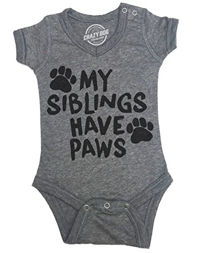 eeper My Siblings Have Paws Cute Dog and Cat Baby Jumpsuit For Newborn -3-6m - Baby-Jungen - 3-6 Months (Wie Man Einen Creeper)