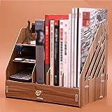 QFFL zhuomianshujia Desktop-Aufbewahrungsbox Multifunktions-Büro-Regal aus Holz Aktenregal (4 Farben, 3 Stile) Bücherregale (Farbe : Kirschholz, größe : 330 * 236 * 305mm)