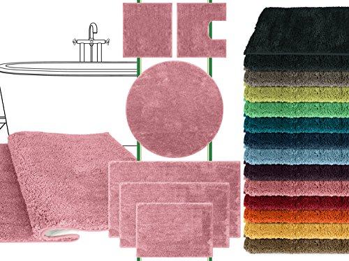 Mikrofaser Badteppich - klassisch + modern + universell einsetzbar - erhältlich in 13 modernen Farben und 6 verschiedenen Größen - die extra Streicheleinheit für Ihre Füße in geprüfter Markenqualität, altrosa, 50 x 45 cm ohne Ausschnitt