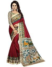 Vivera Women's Cotton & Crush Saree With Blouse Piece (Kalamkari-6-Wine_Wine)