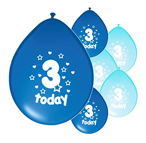 10 x 3RD BIRTHDAY BOY/ AGE 3 BOY LIGHT BLUE AND BLUE MIX PACK BIRTHDAY BALLOONS (PA)