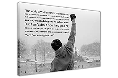Canvas Wall Art Prints Iconic Rocky Balboa Hope Quote Black And White Landscape Hollywood Movie Photo Print Picture Home Decor - inexpensive UK canvas shop.