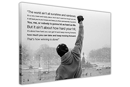 "Kunstdruck auf Leinwand, Motiv: Rocky Balboa Zitat, Schwarzweiß 5- 20"" X 24"" (50CM X 60CM)"