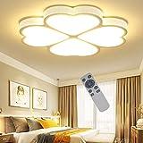 ADEMAY 48W Dimmbar LED 4 Kleeblatt Elegante Deckenlampe für Wohnzimmer Schlafzimmer Hausdekoration Beleuchtung Deckenleuchte (Dimmbar, Weiß 48W)