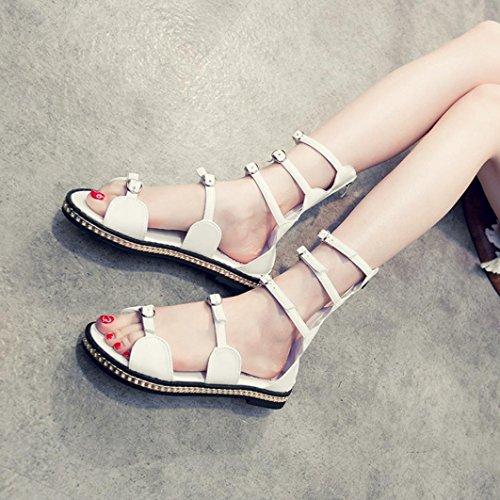 Saingace Frauen Sommer Open Toe Flat Hollow Bandage Sandalen Beach Gladiator Fashion Schuhe Weiß