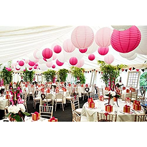 Marquee wedding decorations amazon 18 pack white pink hot pink round paper lantern lamp shades for wedding marquee birthday baby girl shower party decoration junglespirit Gallery