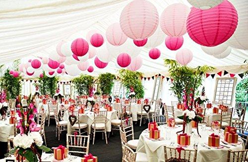 18er weiß pink hot pink rund Papier Laterne Lampenschirme für Hochzeit Festzelt Geburtstag Baby Mädchen Dusche Party Dekoration