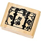 Outgeek Wood Stamp Wooden Stamper Creative Vintage World Scenic Spots Pattern Wooden Rubber Stamp 4 Sizes 1 Piece Travel Case S