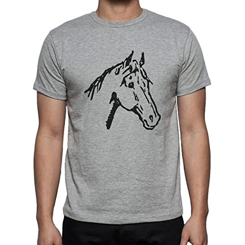 Horse Animal Pony Stud Head Sketch White Herren T-Shirt Grau