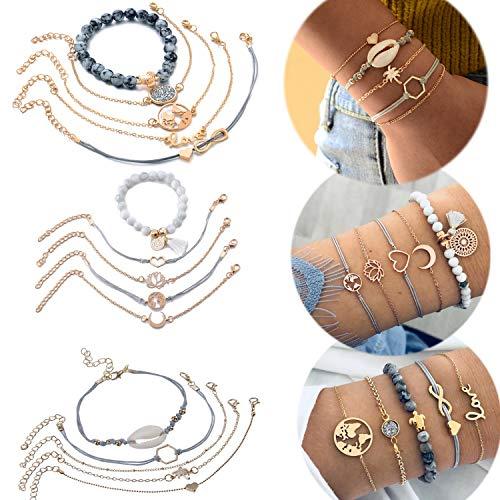 Jbniuay 15 Stück Schale Armbänder Weltkarte Infinity Herz Geflochtene Handgemachte Einstellbar Armreifen Perlenarmband Boho Schmuck Set für Damen Mädchen (Set 1)