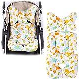 Morningtime Baby Sitzauflage Kinderwagen sitzauflage für Babyschale Waschbar Baumwolle Faltbarer Tragbare Kissen Atmungsaktive Teppich für Autokindersitz Kinderwagen Universal Vier Jahreszeiten