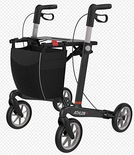 rehasense Carbon Andador Athlon SL tamaño L, súper ligero 5,2kg para personas mayores con extraíble Bolsa de la compra, cómodo asiento con respaldo y crampones. La Bella Andador es 4alturas, plegable y de hasta 150kg)
